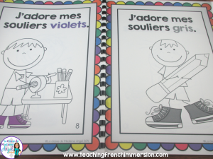 French emergent reader - J'adore mes souliers!  Great for teaching about colours in French.