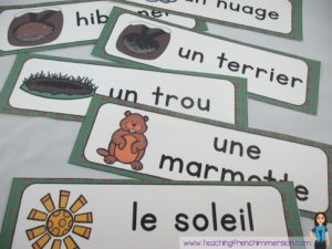 """Word Wall cards for """"Le jour de la marmotte"""". Great for Groundhog Day in French."""