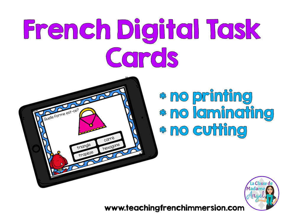 Digital Task cards for the French Immersion classroom! Lots of great ideas in this blog post.