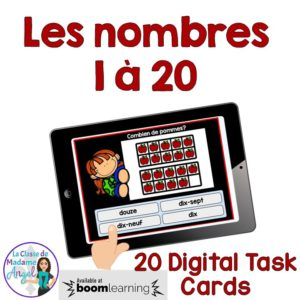 Boom Learning Digital Task Cards! Les nombres. Look at the ten frames and choose the correct number of apples in French!