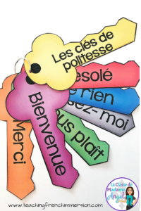 """""""Les clés de politesse"""". Practice polite words and vocabulary with this fun set of French posters in the shape of keys. Free when you sign up for the newsletter at www.teachingfrenchimmersion.com"""